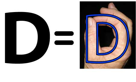 An image illustrating the Large letter D in relation to a human hand with thumb and opposed forefinger.