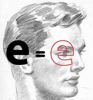 An illustration showing small letter 'e' and head in profile
