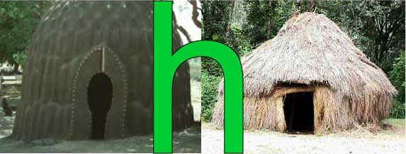 Two primitive huts of the type letter h depicts