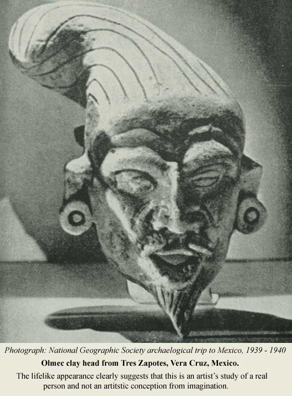 Perfect likeness of a bearded Eastern Mediterranean man of Olmec creation.