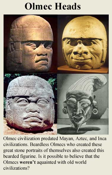 An array of Olmec 'heads' of contrasting Mediterranean and Central American facial features.