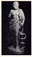 Statue of Esklepios/Aesculapius, the Greek/Roman god of medicine and healing with serpent entwined staff