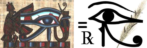 An illustration comparing the Eye of Heru to the modern Rx symbol