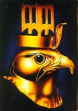 A gold figurine of Heru, the Golden Hawk, with a jeweled eye.